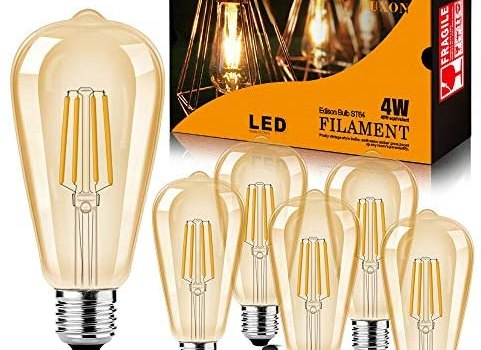 LED Edison Bulb Dimmable Amber Warm 2700K Antique Vintage Style Filament Light Bulbs 40W Equivalent E26 Base 6-Pack by LUXON