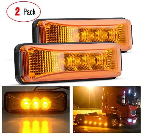 """Nilight 2PCS 3.9"""" 3 LED Truck Trailer Amber Light Front Rear LED Side Marker Lights Clearance Indicator Lamp Perfect Sealed Waterproof Surface Mounted LED Marker Light, 2 Years Warranty"""