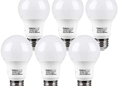 TORCHSTAR LED Light Bulb, UL Listed 9W (60W Equivalent), A19 E26 Standard Base Bulb, 820lm, 3000K Warm White, Non-dimmable, Pack of 6