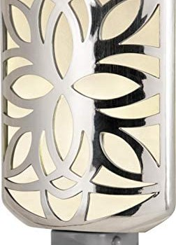 GE, Brushed Nickel, Decorative LED Night Light, Plug-in, Dusk to Dawn, Soft White, UL-Listed, Ideal for Living Room, Bedroom, Nursery, Kitchen, Bathroom, 11314