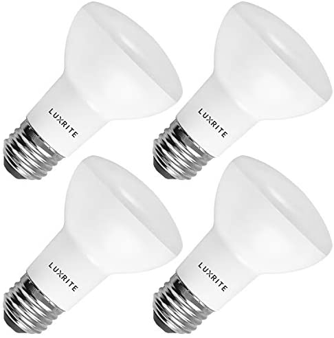 4-Pack R20 LED Bulb, Luxrite, 45W Equivalent, 3500K Natural White, Dimmable, 460 Lumens, BR20 LED Flood Light Bulb, 6.5W, E26 Medium Base, Damp Rated, Indoor/Outdoor – Recessed and Track Lighting
