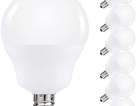 JandCase LED Globe Candelabra Light Bulbs, 2.5W(25W Equivalent), 250lm, Soft White 3000K, LED Bulbs for Ceiling Fan, E12 Base, Tiny G14 Bulbs, Not Dimmable, 6 Pack