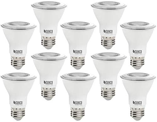 Sunco Lighting 10 Pack PAR20 LED Bulb, 7W=50W, Dimmable, 2700K Soft White, E26 Base, Indoor/Outdoor Spotlight, Waterproof – UL & Energy Star
