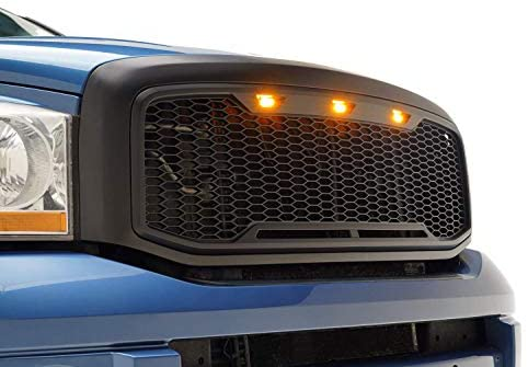 EAG Replacement Upper ABS Grille LED Grill With Amber LED Lights – Matte Black for 06-08 Dodge Ram 1500/06-09 Dodge Ram 2500/3500