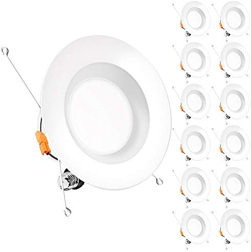 Bbounder (12 Pack) 5/6 inch LED Dimmable Recessed Lighting, Retrofit Downlight with Smooth Trim, 4000K CoolWhite,12W=100W, 1000LM, Simple Retrofit Installation, IC Rated No Flicker, Energy Star & ETL