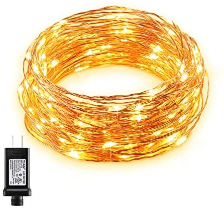 Fairy Lights Plug in 33ft 100 LED, Gladle Copper Wire String Lights, Decorative Firefly Lights for Bedroom Dorm Christmas Tree Garden Patio Parties, Indoor & Outdoor, Warm White