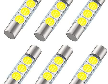 29mm Festoon LED Bulb, 6614F 6612F LED Bulb, 1.15in 3SMD 5050 Chips 6641 LED Bulb for Car Interior Vanity Mirror lights Sun Visor Light (6pcs 6000K White)