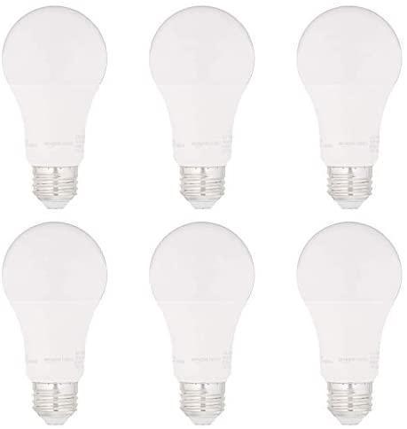 AmazonBasics 75W Equivalent, Daylight, Dimmable, 15,000 Hour Lifetime, CEC Compliant, A19 LED Light Bulbs | 6-Pack