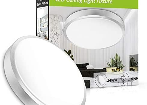 Ustellar 24W LED Round Ceiling Lights Fixture Flush Mount 180W Incandescent Bulbs Equivalent 2000lm 14in LED Ceiling Lamp 5000K Daylight White Indoor Outdoor Lighting for Bathroom Hallway Kitchen