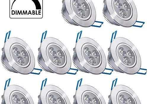 10 Pack,Pocketman 110V 3W Dimmable LED Ceiling Light Downlight,Cool White Spotlight Lamp Recessed Lighting Fixture,with LED Driver