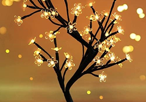 Bright Zeal 18″ Battery Operated LED Cherry Blossom Tree Lights (6hr Timer) – Bonsai Lighted Tree – Lighted Cherry Blossom Tree Light Tabletop LED Tree Lamp – Home Decor Artificial Plants Light BZY