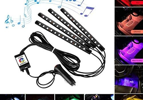 DYTesa Car Interior Lights, Car LED Strip Light IP65 Waterproof, 4pcs 48 LED App Controller Lighting Kits, Multi DIY Color Music Under Dash Car Lighting with Car Charger, DC 12V