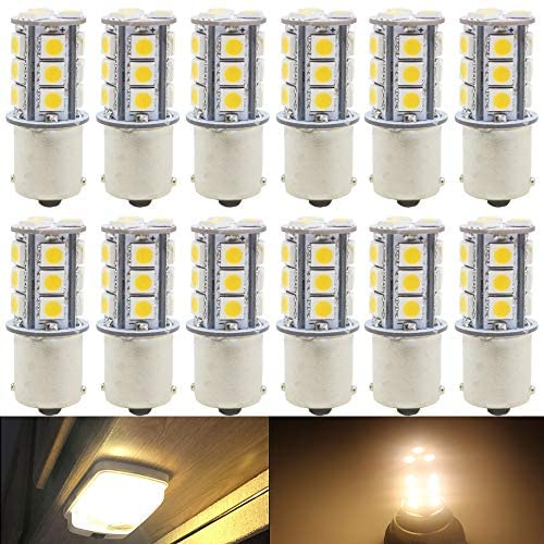 12-Pack 1156 BA15S 7506 1141 1003 1073 Warm White 3000k LED Light 12V-DC, AMAZENAR 5050 18 SMD Car Replacement For Interior RV Camper Turn Signal Light Lamps Tail BackUp Bulbs