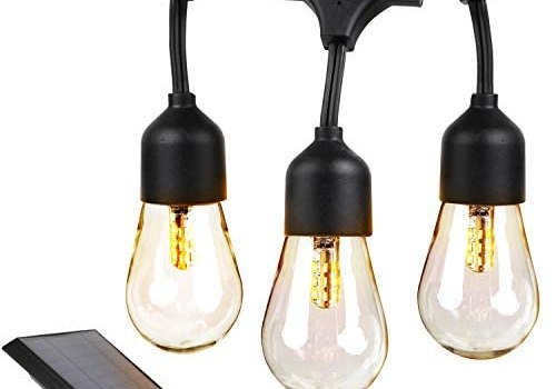 Brightech Ambience Pro – Waterproof, Solar Powered Outdoor String Lights – 48 Ft Hanging Edison Bulbs Create Bistro Ambience On Your Patio – Commercial Grade, Shatterproof – 1W LED, Warm White Light