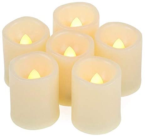 Flameless Flickering LED Votive Tealight Candles Battery Operated with Timer / 6 Hours On and 18 Hours Off Per Cycle, LED Tea Light Candles for Outdoor Halloween Pumpkin Light Christmas Decorations