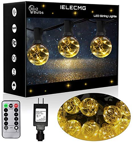 IELECMG Patio String Lights Outdoor – 32.8FT G40 Globe Led String Lights with 32 Bulbs(2 Spare) Linkable Dimmable Waterproof Decorative Lighting Remote Control for Garden Wedding Party