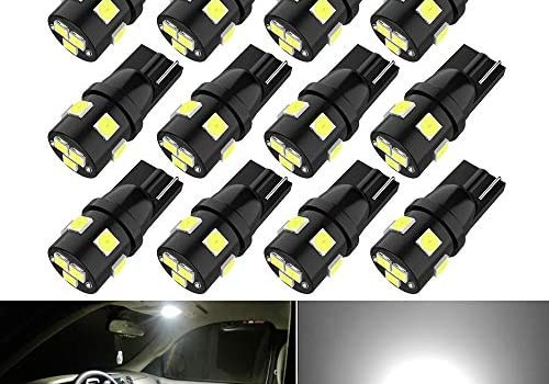 194 LED Bulbs Super Bright T10 Wedge 194 168 2825 W5W 175 LED Bulbs 3030 SMD LED Bulbs for License Plate Lights Interior Map Dome Side Marker Courtesy Cargo Lights, 6000K Xenon White, Pack of 12