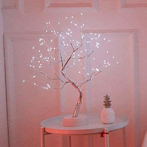 LXcom LED Branch Lights 108 LEDs New Silver Copper Wire Tree Branches LED Bonsai Table Tree Lighted USB Battery Operated with Touch Switch Decorative Desk Lamp for Home Decor, Daylight White