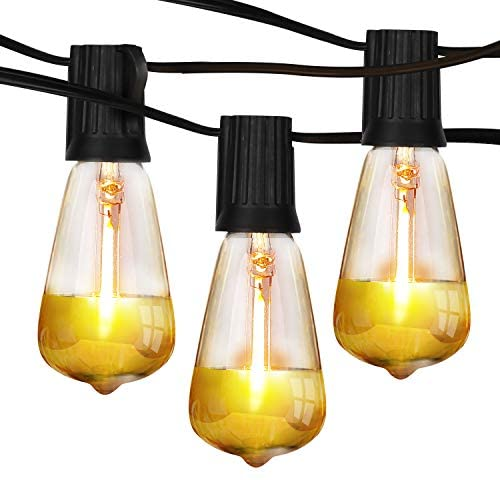 Brightech Ambience Pro – Gold Tip Teardrop String Lights – Waterproof LED Outdoor String Lights – Hanging Dimmable 1W LED Bulbs with Dazzling Gold Accent – 26 Ft Commercial Grade Patio Backyard Gazebo