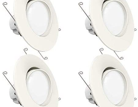 Sunco Lighting 4 Pack 5 Inch/6 Inch Gimbal LED Downlight, 12W=60W, 5000K Daylight, 800 LM, Dimmable, Adjustable Recessed Ceiling Fixture, Simple Retrofit Installation