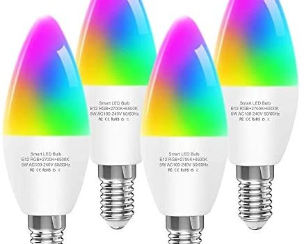Smart Light Bulbs E12 Base B10/B11 LED Candelabra Bulbs, Color Changing and Dimmable, Compatible with Alexa Google Home, Tunable White Chandelier Light Bulbs 320 lm 35w Equivalent, 4 Pack