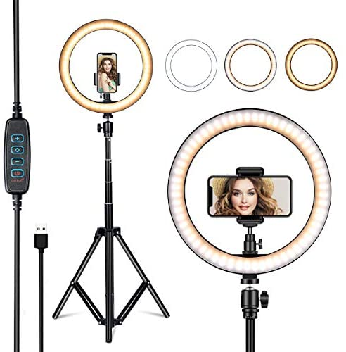 VillSure 10″ Selfie Ring Light with Tripod Stand, LED Ring Light & Phone Holder for iPhone Android,Ringlight for Live Stream/Makeup/Photography/YouTube Video