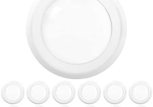 Sunco Lighting 12 Pack 5 Inch / 6 Inch Flush Mount Disk LED Downlight, 15W=100W, 2700K Soft White, 1050LM, Dimmable, Hardwire 4/6″ Junction Box, Recessed Retrofit Ceiling Fixture