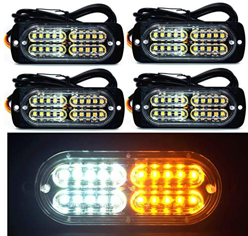 12-24V 20-LED Super Bright Emergency Warning Caution Hazard Construction Waterproof Amber Strobe Light Bar with 16 Different Flashing for Car Truck SUV Van – 4PCS (White Amber)