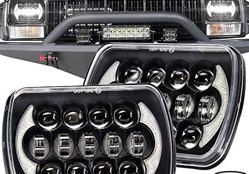 """SPL 105W Brightest 5""""x7""""/7""""x6"""" Projector Cree Led Headlights Sealed Beam H4 Plug H6054 H5054 with DRL Compatible with Jeep Wrangler YJ Cherokee XJ S10 Blazer Truck Ford Van(Black Pair)"""