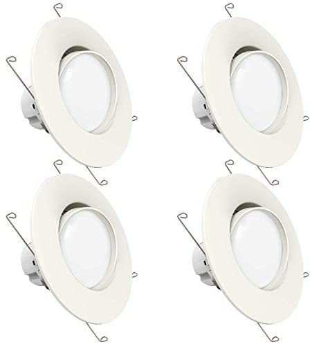 Sunco Lighting 4 Pack 5 Inch/6 Inch Gimbal LED Downlight, 12W=60W, 2700K Soft White, 800 LM, Dimmable, Adjustable Recessed Ceiling Fixture, Simple Retrofit Installation