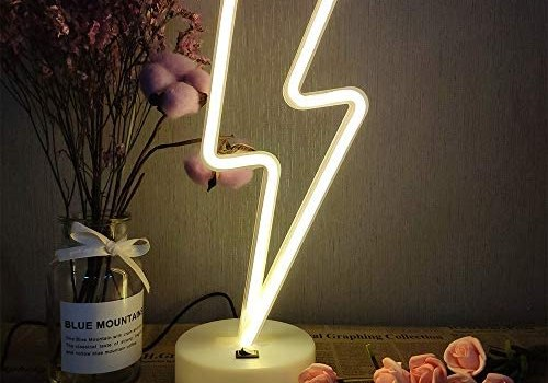 ENUOLI Neon Signs Lightning Bolt Battery Operated and USB Powered Warm White Art LED Decorative Lights with Base Night Lights Indoor for Living Room Office Christmas Wedding Party Decoration