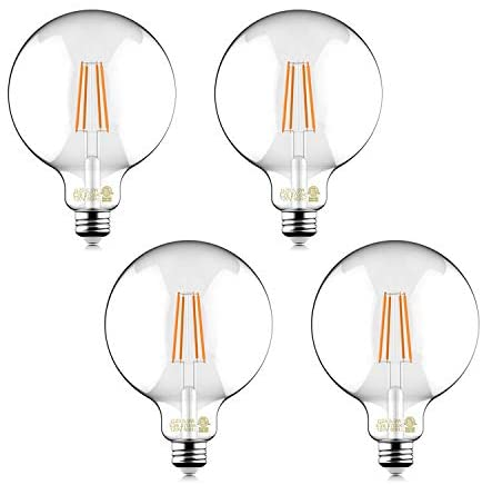 Helloify 60W Equivalent Dimmable 5.5W Decorative Globe Vintage LED Edison Filament Bulbs, 500 lumens, Clear Glass, Soft White 2700K, E26 Screw Base, Pack of 4