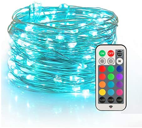 YIHONG Fairy String Lights USB Powered, 33ft Twinkle Lights with RF Remote, Color Change Firefly Lights – 13 Colors