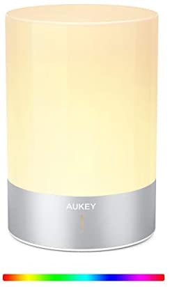 AUKEY Cordless Lamp Rechargeable Table Lamp LED Bedside Lamp with Dimmable Warm White Light & Color Changing RGB, Touch Lamp for Bedrooms