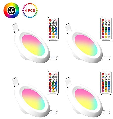 4 Pack LED Recessed Downlights RGB & Warm White, 5W Ceiling Spotlights with IR Remote and Switch Control 500LM Dimmable Open Hole Size 65-85mm Ultra Slim for Living Room Bedroom Kitchen Bathroom