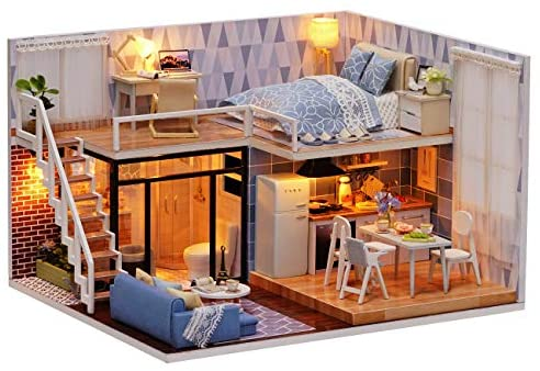 Ogrmar Dollhouse Miniature with Furniture, DIY Dollhouse Kit Plus Dust Proof & LED Light, Creative Room Toys for Children Gift (Blue Time)