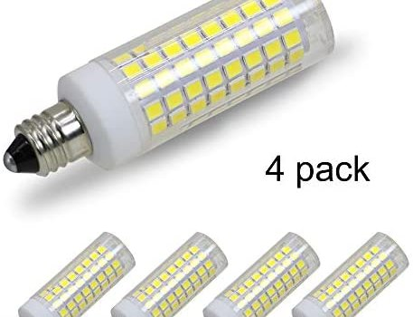 [4-Pack] E11 LED, All-New (102LEDs) E11 Led Bulbs, 8W 75W-100W Equivalent, 850 LM, Daylight 6000K, Dimmable,E11 Mini Candelabra Base, JD T3/T4 360 Degree Beam Angle for Indoor Decorative Lighting.