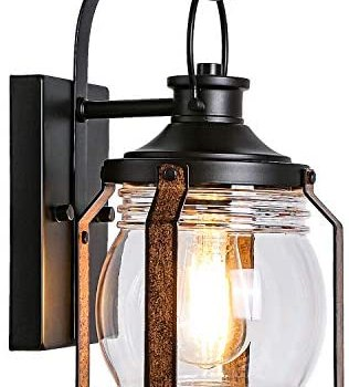Hykolity Canyon Outdoor Indoor Wall Light Fixture, LED Bulb Included, Black Wall Lighting, Architectural Wall Sconce with Clear Glass Shade for Entryway, Porch, Front Door, ETL
