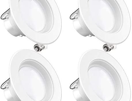 Sunco Lighting 4 Pack 4 Inch LED Recessed Downlight, Baffle Trim, Dimmable, 11W=60W, 3000K Warm White, 660 LM, Damp Rated, Simple Retrofit Installation – UL + Energy Star