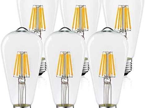 AOGOLO Vintage LED Edison Bulbs, 5W, Equivalent 40 Watt, 4200K Daylight White, ST19 Antique Vintage Style Filament Light Bulbs, E26 Medium Base Lamp for Home,Dimmable, Clear Glass, UL, 6-Pack