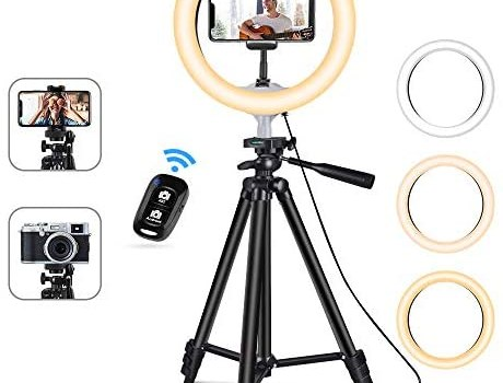 10″USB Selfie LED Ring Light with 50″ Extendable Tripod Stand & Flexible Phone Holde for Live Stream/Makeup,Camera, YouTube Video Photography, Compatible with iPhone/Android