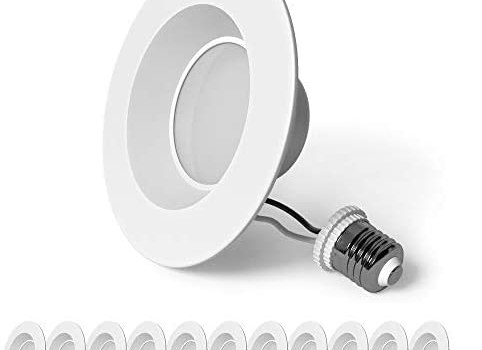 SunLake Lighting 12 Pack 4 Inch LED Recessed Downlight, Smooth Trim, Dimmable, 8W=60W, 3000K Warm White, 720 LM, Wet Rated, UL + Energy Star + Title 20