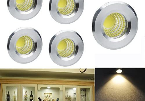 Elitlife 5 Pack 3W 300 Lumens Mini COB Recessed Ceiling Downlight Kit Warm White 2800-3000K – Silver Aluminum Light Cover & PC Mirror with LED Driver- for Recessed Light, Track Light Cabinet & More