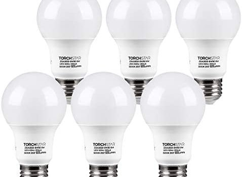 TORCHSTAR LED Light Bulb, UL Listed 9W (60W Equivalent), A19 E26 Standard Base Bulb, 820lm, 5000K Daylight, Non-dimmable, Pack of 6