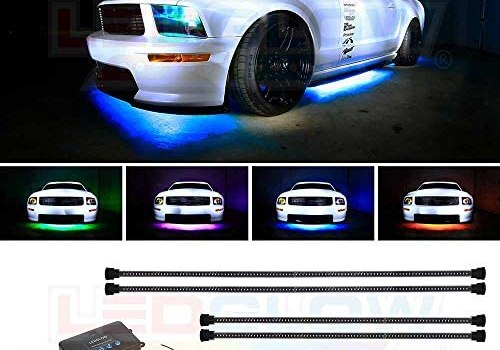 LEDGlow 4pc Million Color Multi-Color LED Underbody Underglow Accent Lighting Kit for Cars – 18 Solid Colors – 12 Unique Patterns – Music Mode – Water Resistant Tubes – Includes Control Box & Remote