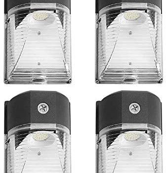 CINOTON LED Wall Pack Light, 26W 3000lm 5000K (Dusk-to-Dawn Photocell,Waterproof IP65), 100-277Vac,150-250W MH/HPS Replacement, Outdoor Security Lighting (4pack)