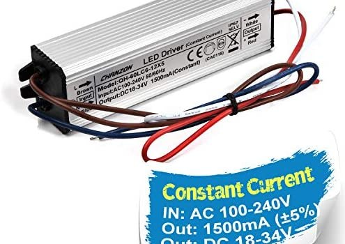 Chanzon LED Driver 1500mA (Constant Current Output) 18V-39V (In:100-240V AC-DC) (6-12) x5 30W 40W 50W 60W IP67 Waterproof High Power Supply 1500 mA Lighting Transformer for 50 W COB Chips (Aluminium)