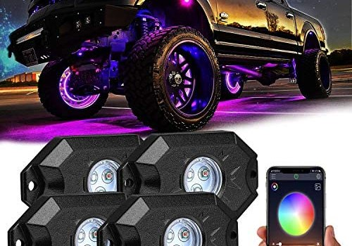 Rgb Led Rock Lights, 4 Pods Underglow Multicolor Neon Light with App Control,Timing Music Mode Multicolor Neon Lighting Kit Waterproof Exterior Underglow Light for Car Truck Atv Rzr Utv Suv Off Road