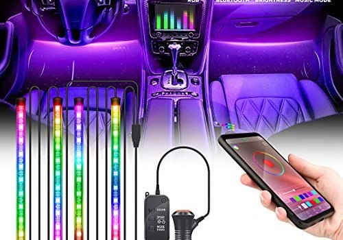 Kemaier Car Strip Lights, 4pcs 48 LED Multicolor Music Interior Car Waterproof Lights, Car Lighting Kits with Sound Active Function & App Remote Control, Car Charger Included, DC 12V