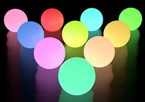 LOFTEK Floating Pool Lights 10 Packs, RGB Color Changing LED Pool Balls Lights IP67 Waterproof, Replaceable Button Cell Hot Tub Bath Toys with 6 PCS Extra Batteries for Pond Pool Decor Outdoor Indoor